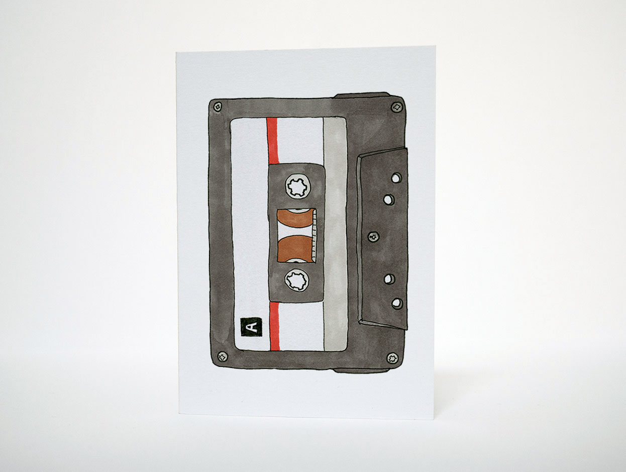 Cassette Greetings Card by Things by us