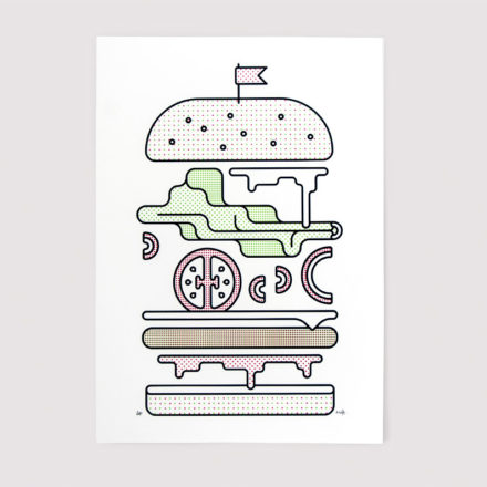 Minimal Burger Screen Print by Things by us