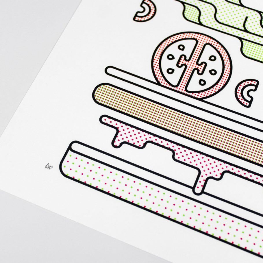 Minimal A3 Burger Print Closeup
