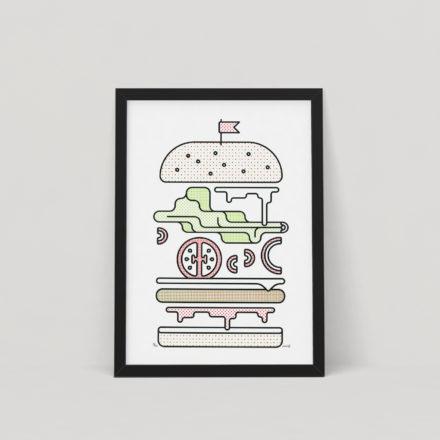 Minimal Burger Screen Print by Things by us