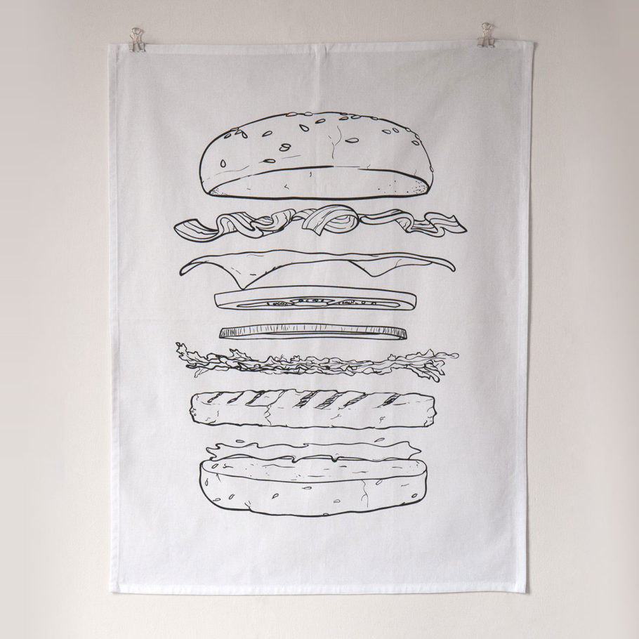 Burger tea towel by Things by us