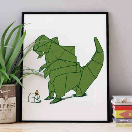 Origami Godzilla print by Things by us
