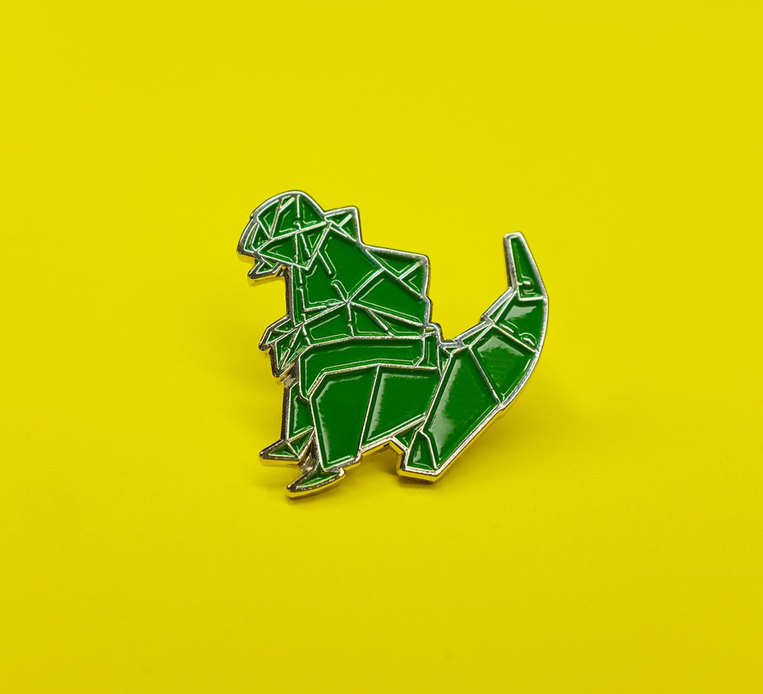 Origami Godzilla Enamel Pin - Things by us