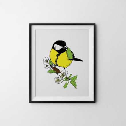 Great Tit - Silkscreen print by Things by us