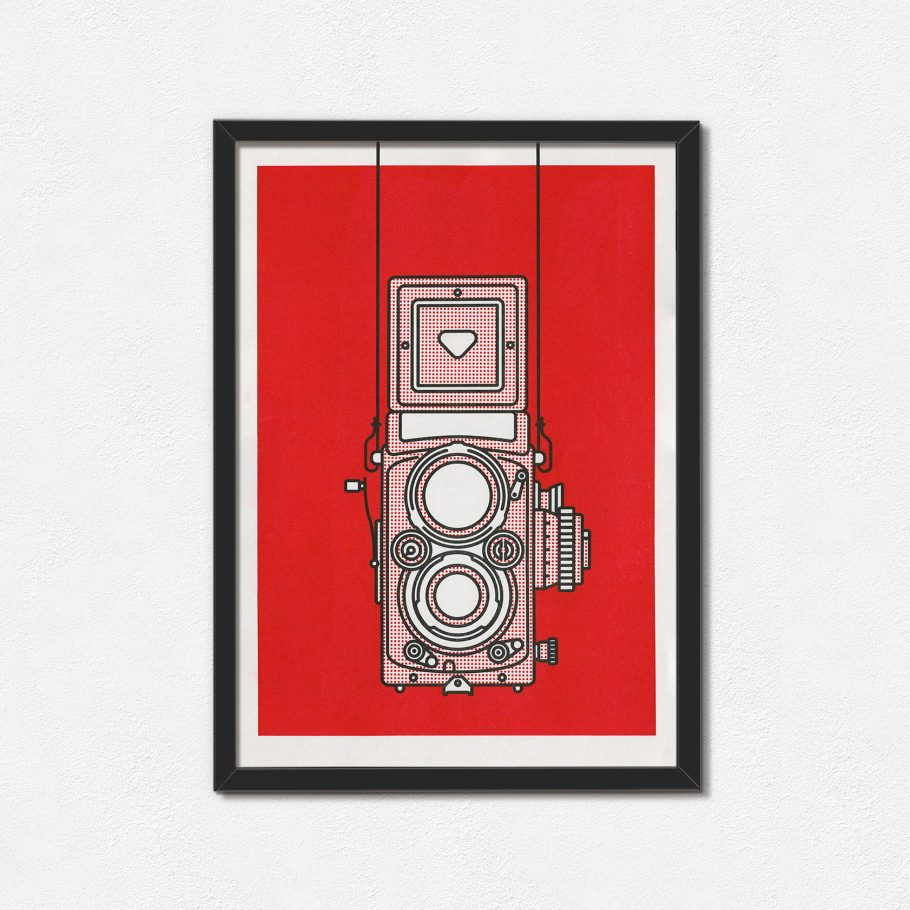 Framed A3 Rolleiflex Camera Risograph Print - Things by us