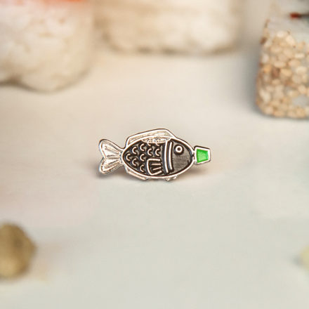 Sushi Soy Fish Enamel Pin with green cap