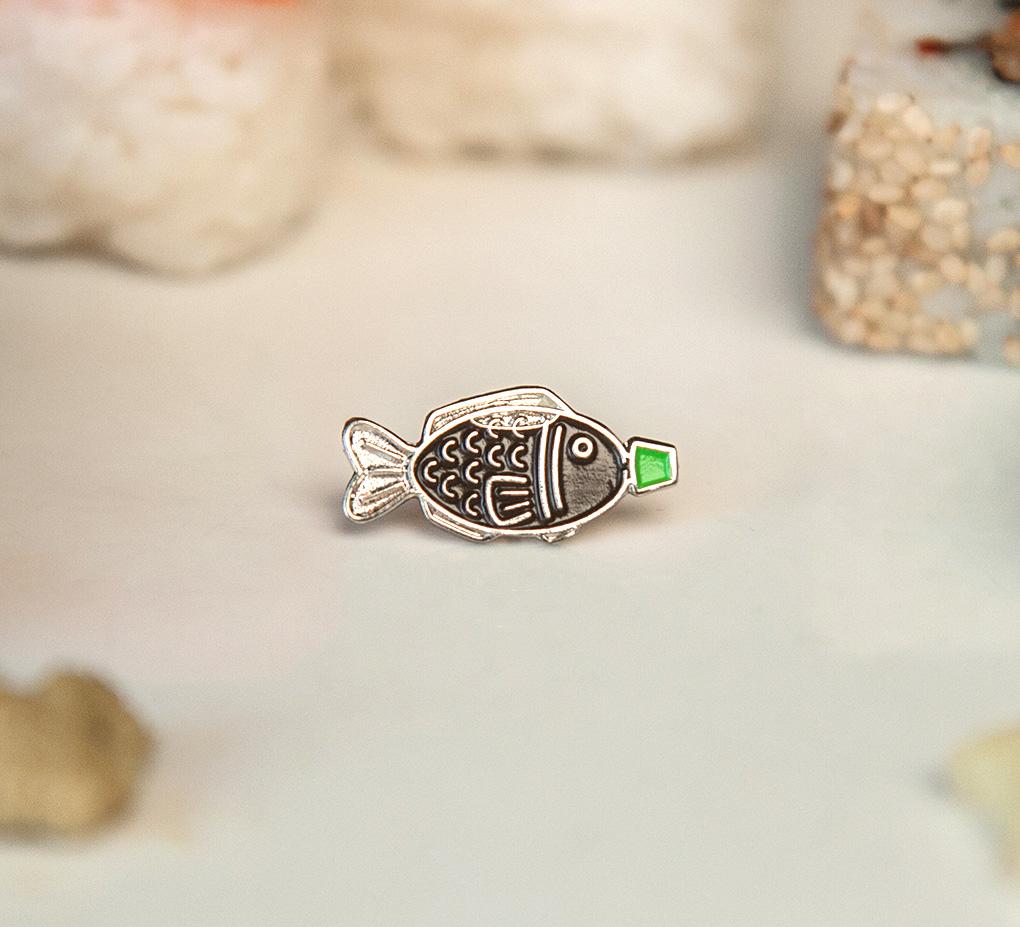 Sushi Soy Fish Enamel Pin with green cap