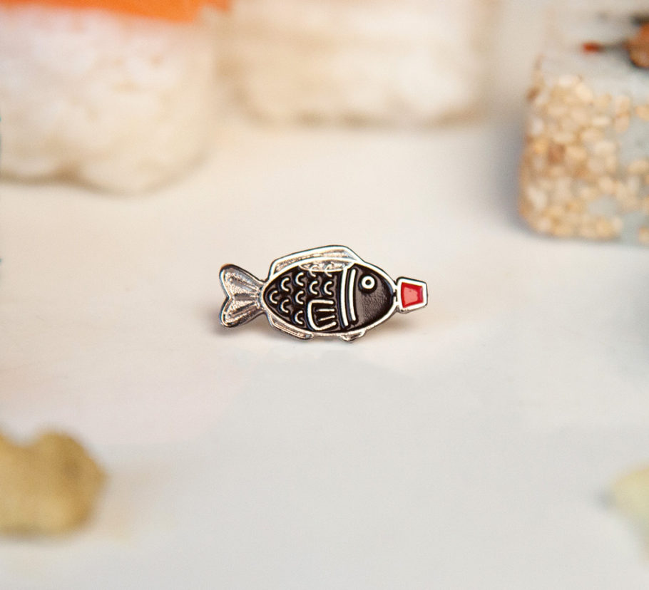 Sushi Soy Fish Enamel Pin with red cap
