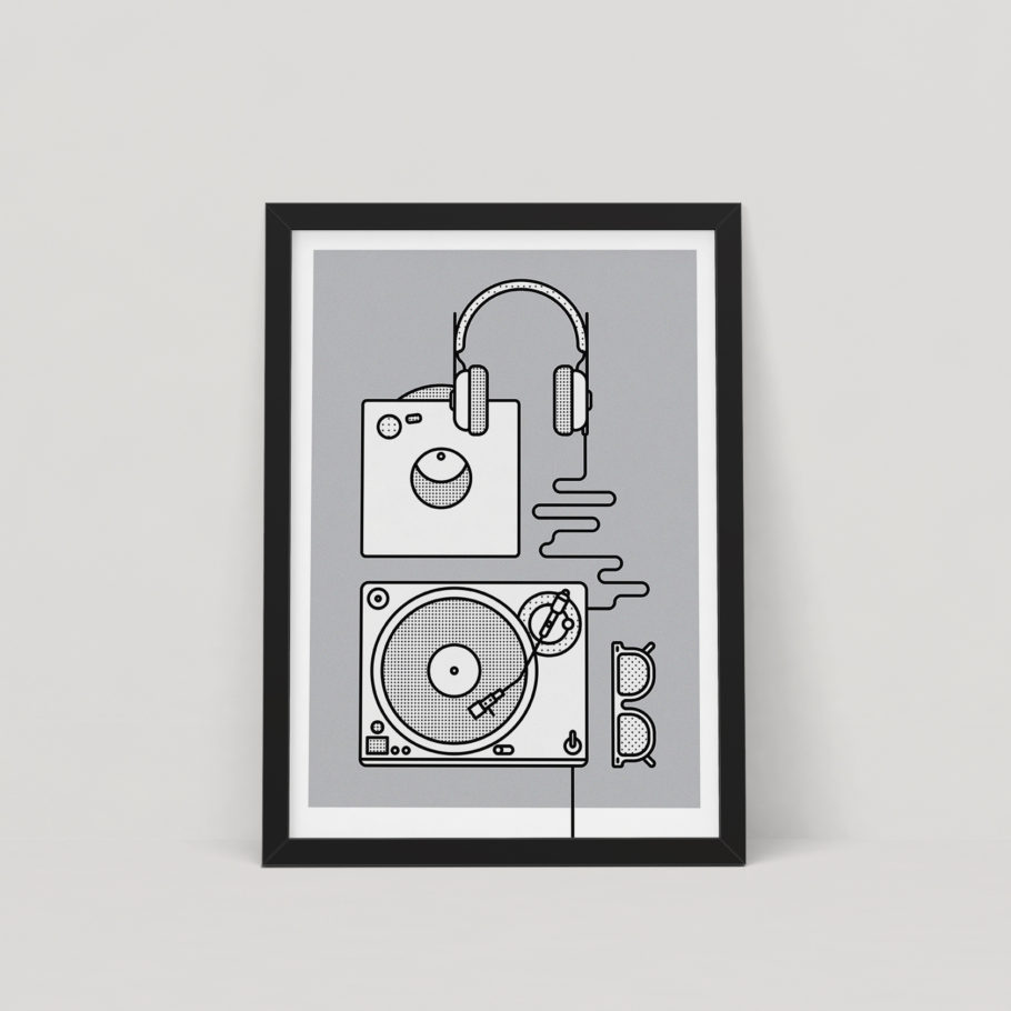 Vinyl record player print by Things by us