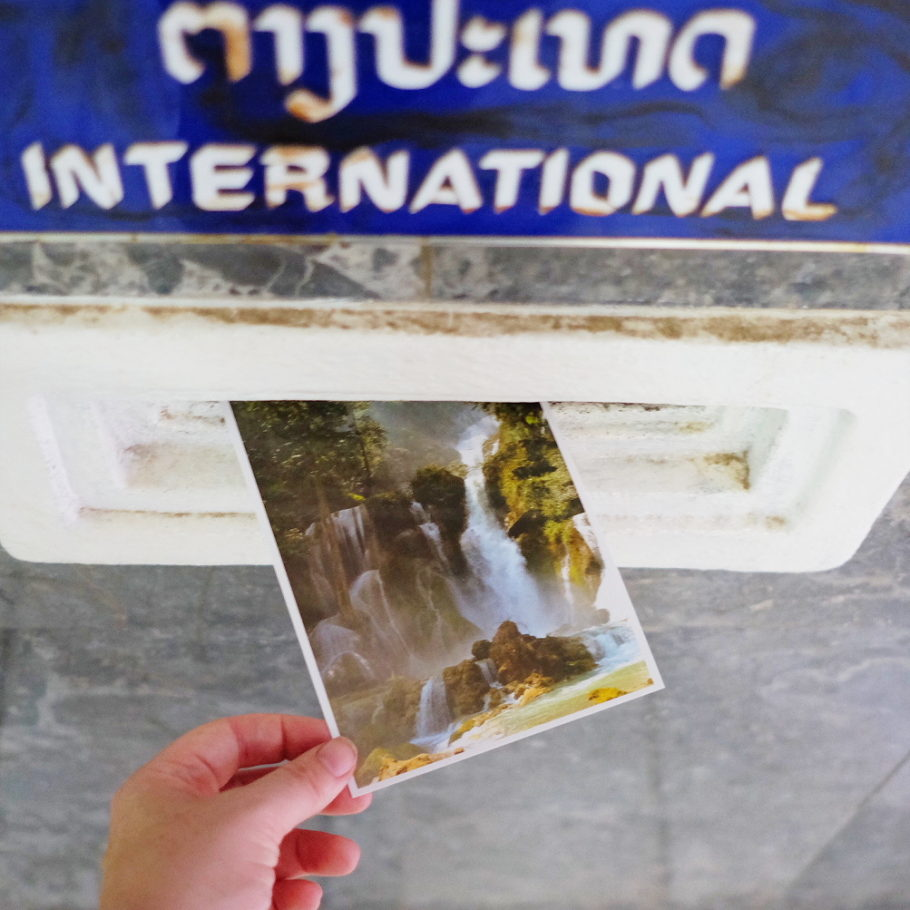 Postcard from Laos of a waterfall
