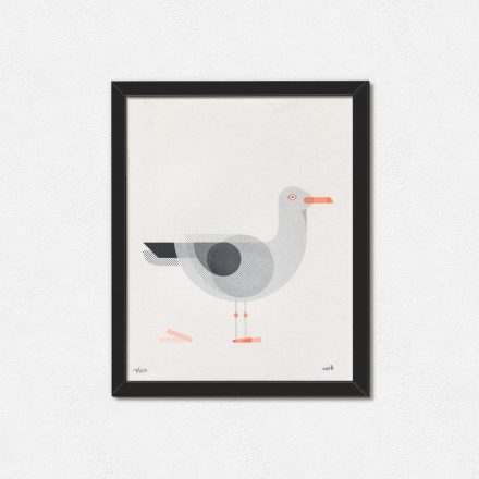 Geometric Seagull, Minimal Art Print in frame by Things by us