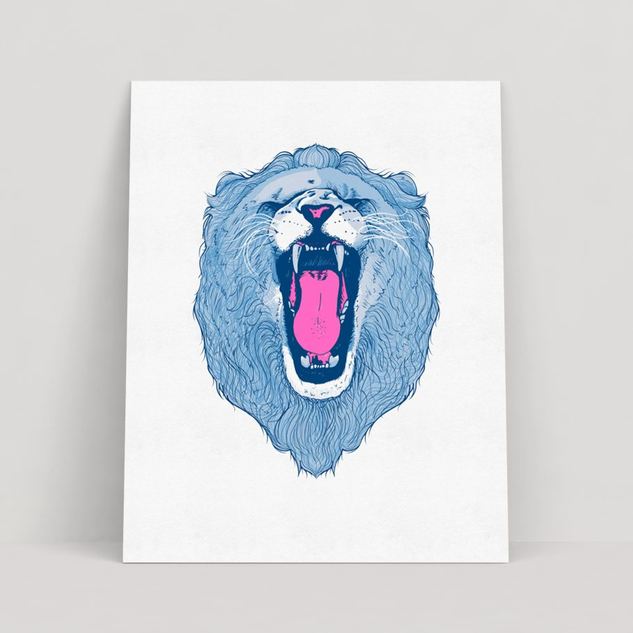 Roaring lion print by Abigail Sinclair