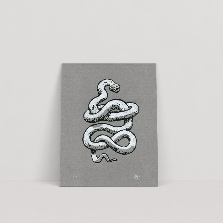 White snake linocut print on grey paper - Things by us