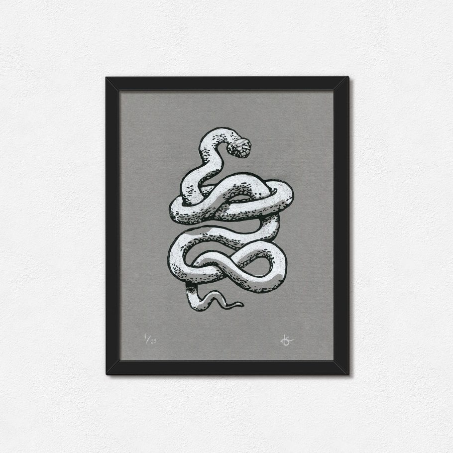 Framed white snake linocut print on grey paper - Things by us