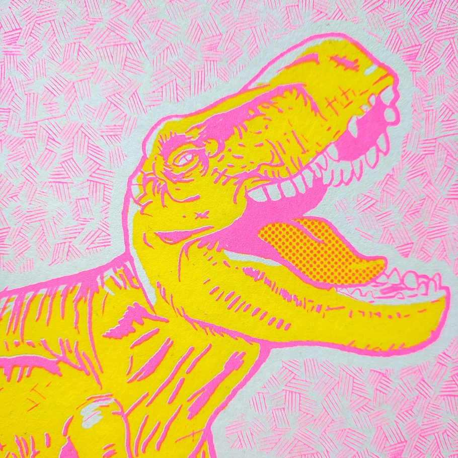 Pink and yellow T-rex art print by Abigail Sinclair of Things by us