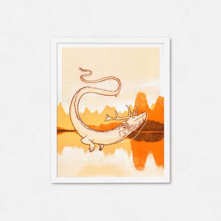 Asian Dragon Art Print in orange by Abi Sinclair of Things by us