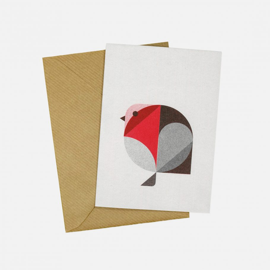 Geometric Robin Christmas card by Things by us